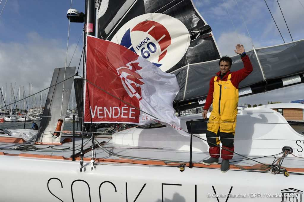 Didac Costa (ESP), skipper One planet One ocean, re-start in the Vendee Globe race, in Les Sables d'Olonne, France, on November 10th, 2016 - Photo Olivier Blanchet / DPPI / Vendee Globe Didac Costa (ESP), skipper One planet One ocean, retour dans la course du Vendée Globe, aux Sables d'Olonne le 10 Novembre 2016 - Photo Olivier Blanchet / DPPI / Vendee Globe